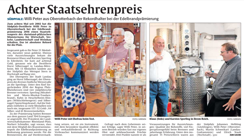 8. Staatsehrenpreis für die Südpfalz-Destillerie